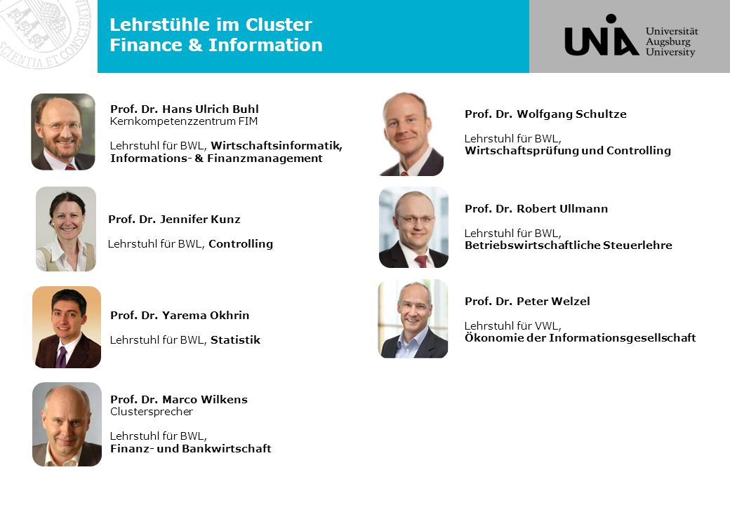Lehrstühle im Cluster Finance & Information
