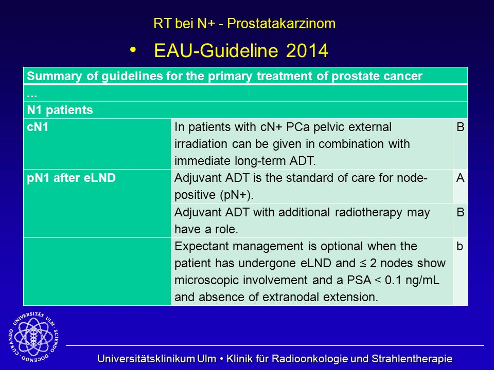 EAU-Guideline 2014 Summary of guidelines for the primary treatment of prostate cancer. ... N1 patients.