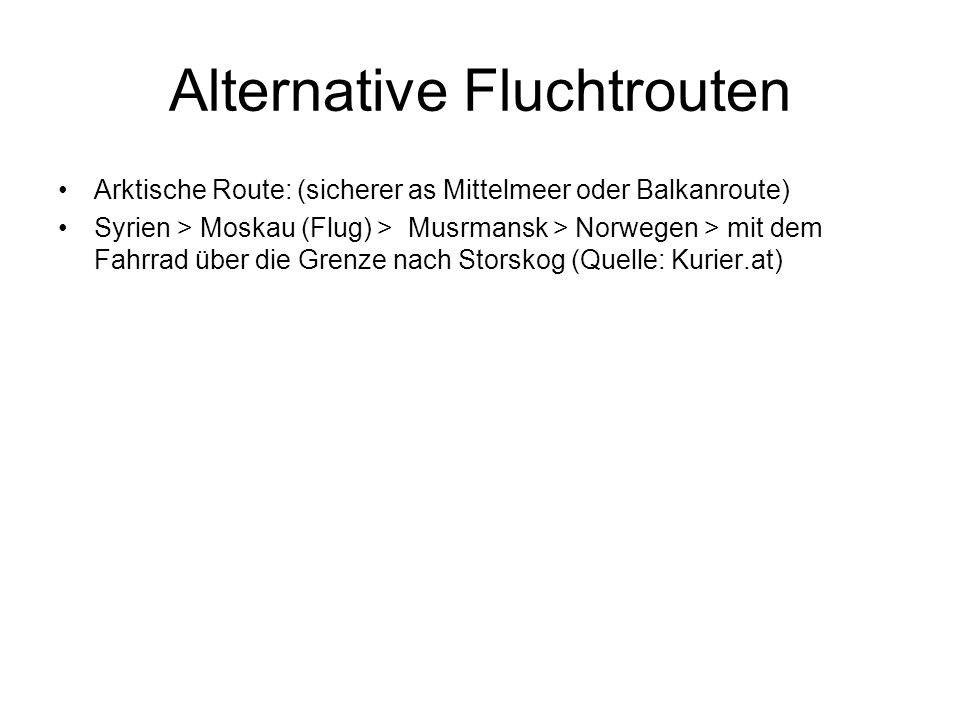Alternative Fluchtrouten
