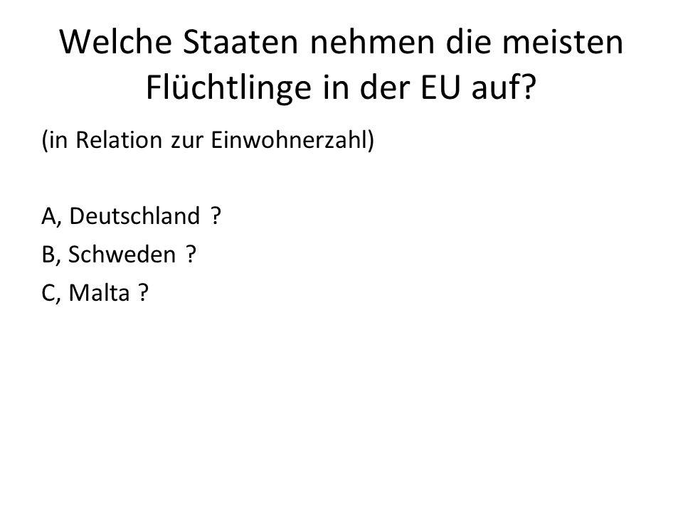 Welche Staaten nehmen die meisten Flüchtlinge in der EU auf