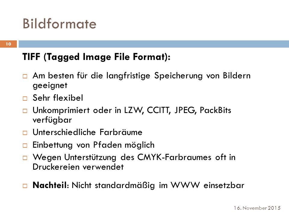 Bildformate TIFF (Tagged Image File Format):