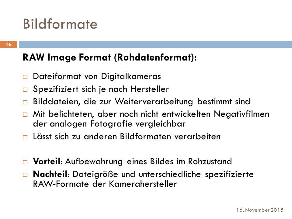 Bildformate RAW Image Format (Rohdatenformat):