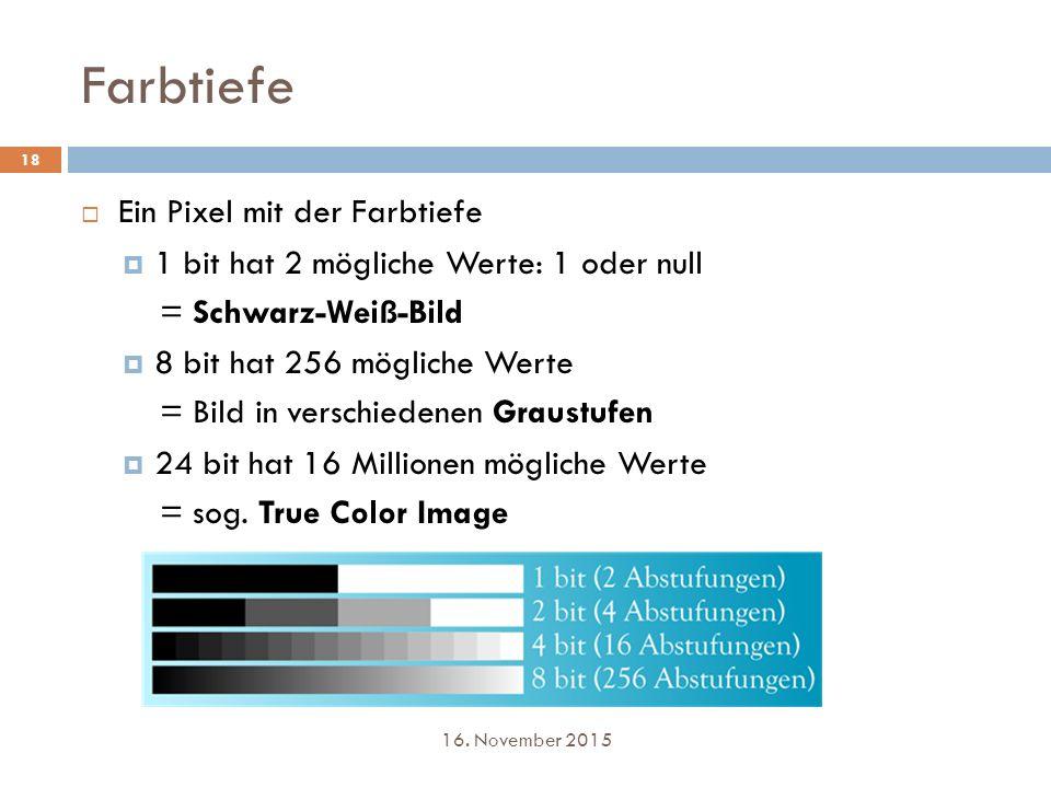 Farbtiefe Ein Pixel mit der Farbtiefe