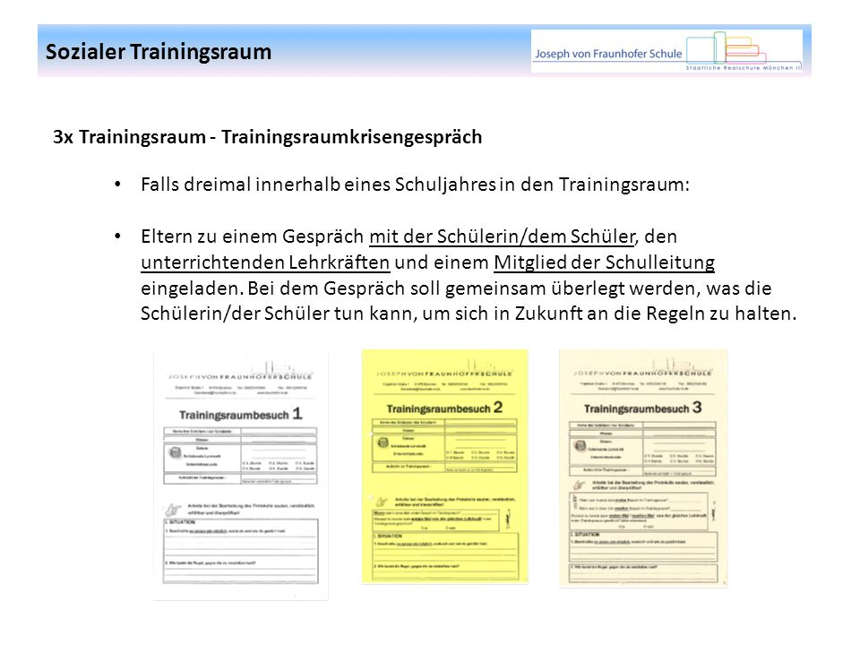 3x Trainingsraum - Trainingsraumkrisengespräch