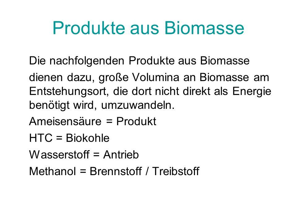 Produkte aus Biomasse Die nachfolgenden Produkte aus Biomasse