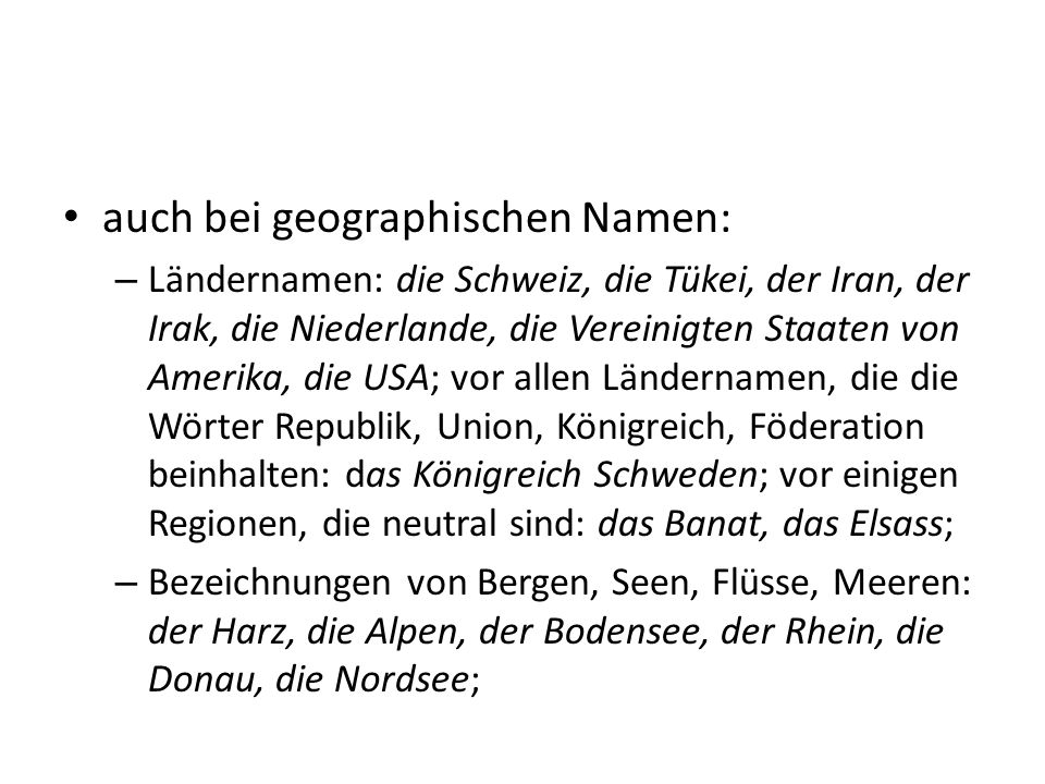 auch bei geographischen Namen: