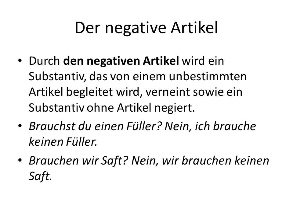 Der negative Artikel