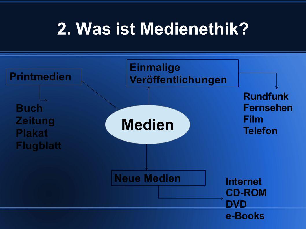 2. Was ist Medienethik Medien Einmalige Veröffentlichungen