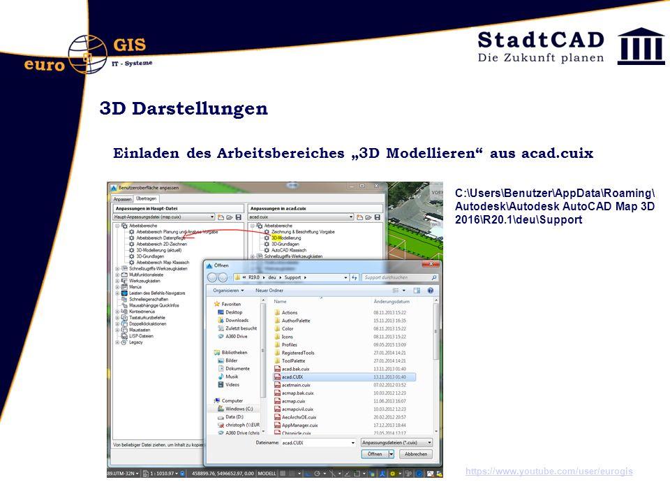"""3D Darstellungen Einladen des Arbeitsbereiches """"3D Modellieren aus acad.cuix."""