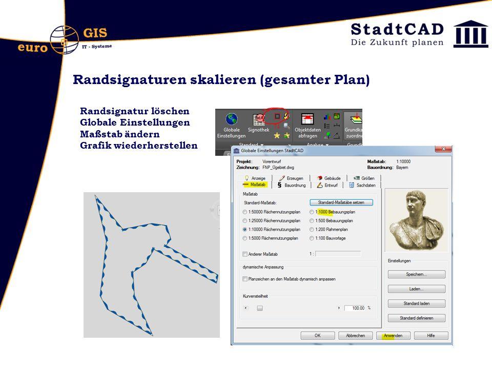 Randsignaturen skalieren (gesamter Plan)