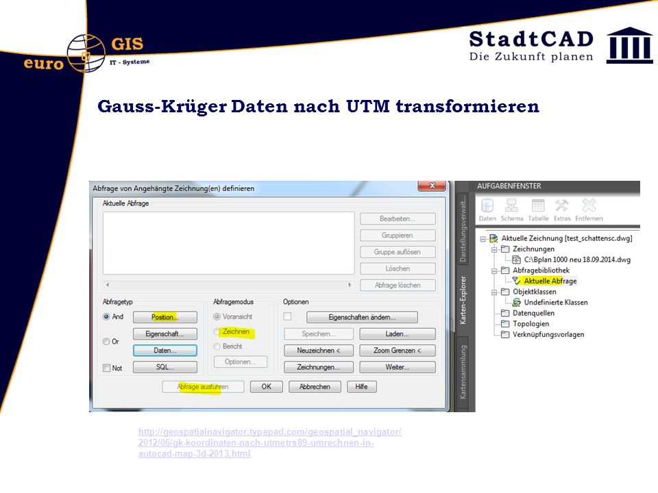 Gauss-Krüger Daten nach UTM transformieren