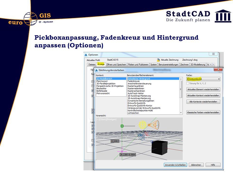 Pickboxanpassung, Fadenkreuz und Hintergrund anpassen (Optionen)