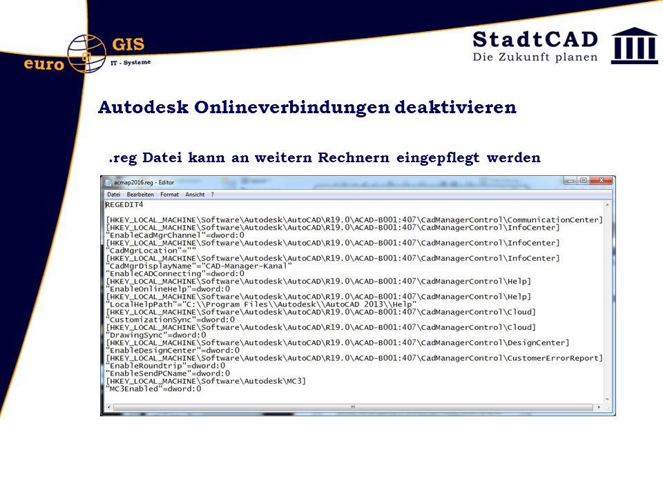 Autodesk Onlineverbindungen deaktivieren
