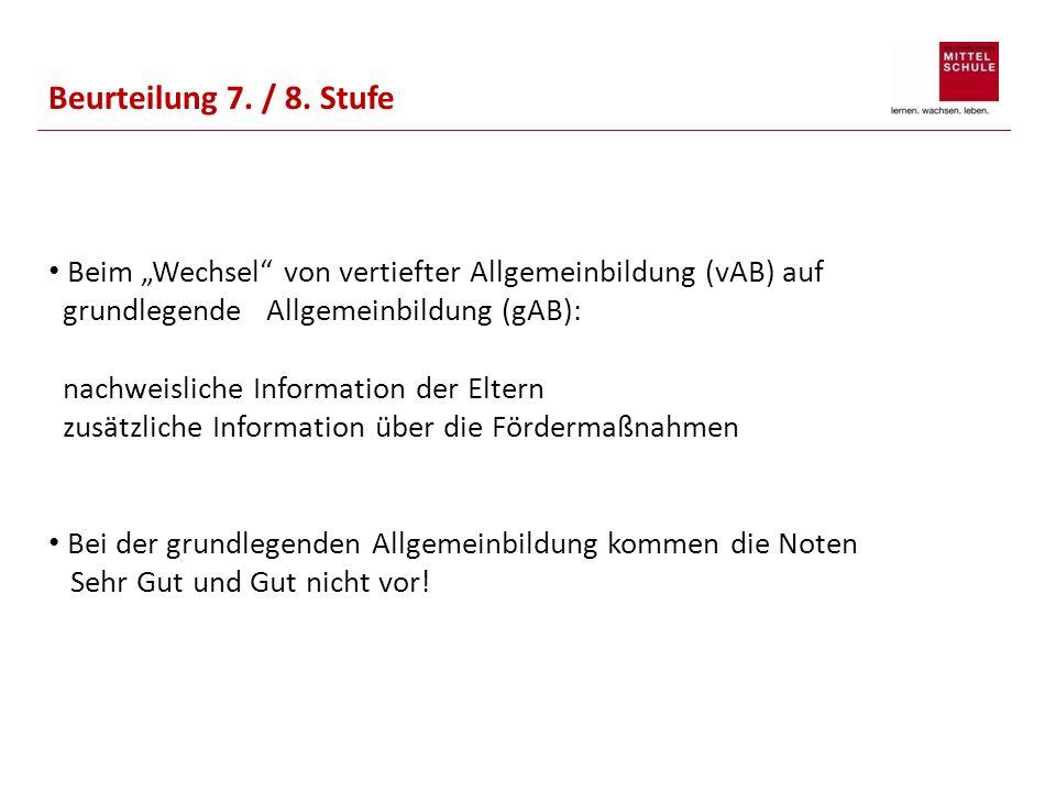 """Beurteilung 7. / 8. Stufe Beim """"Wechsel von vertiefter Allgemeinbildung (vAB) auf."""