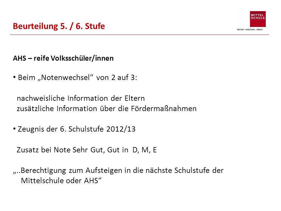 Beurteilung 5. / 6. Stufe AHS – reife Volksschüler/innen.