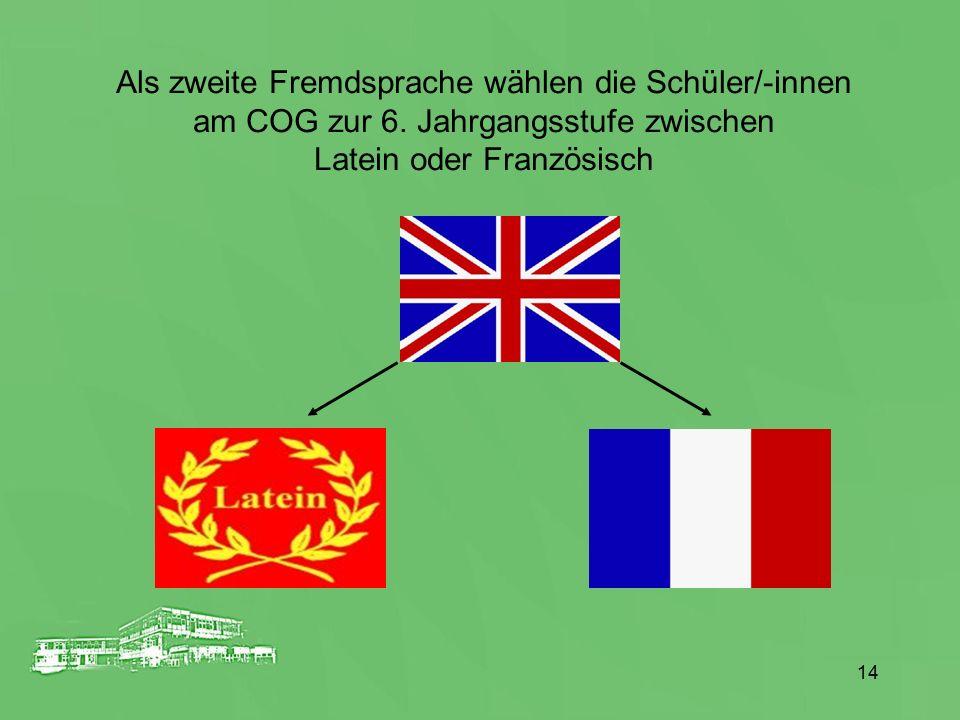 Als zweite Fremdsprache wählen die Schüler/-innen
