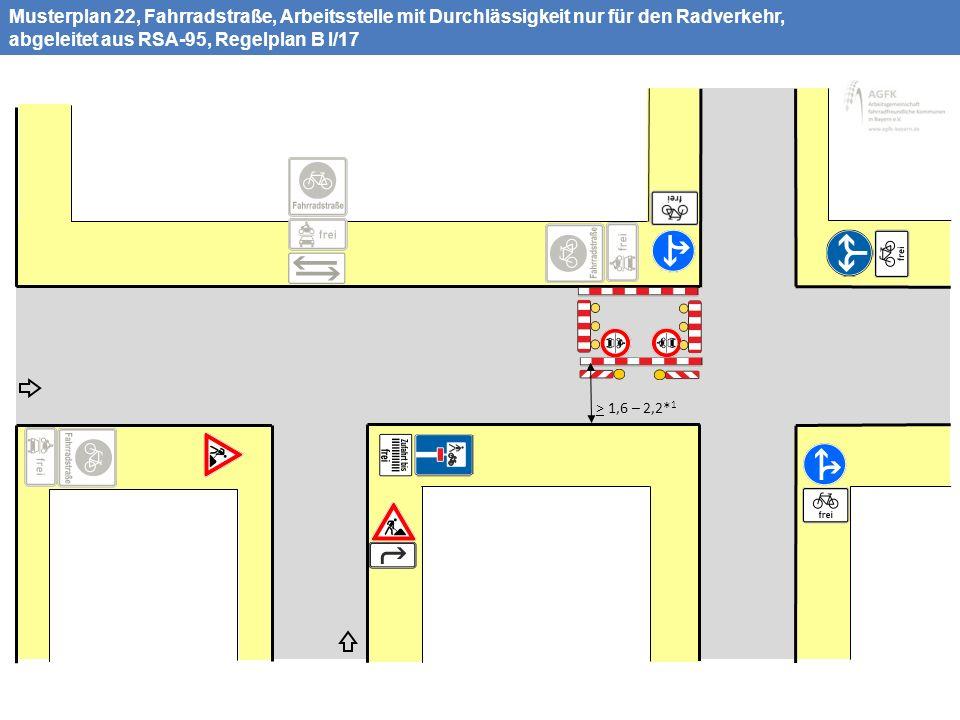Musterplan 22, Fahrradstraße, Arbeitsstelle mit Durchlässigkeit nur für den Radverkehr, abgeleitet aus RSA-95, Regelplan B I/17