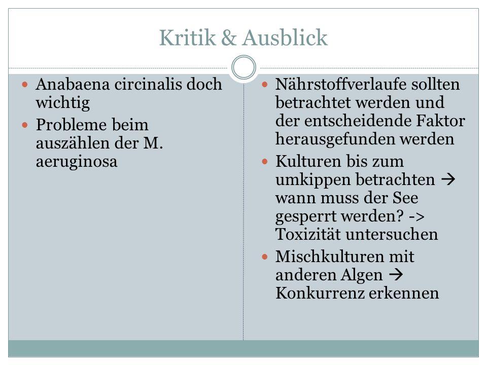 Kritik & Ausblick Anabaena circinalis doch wichtig