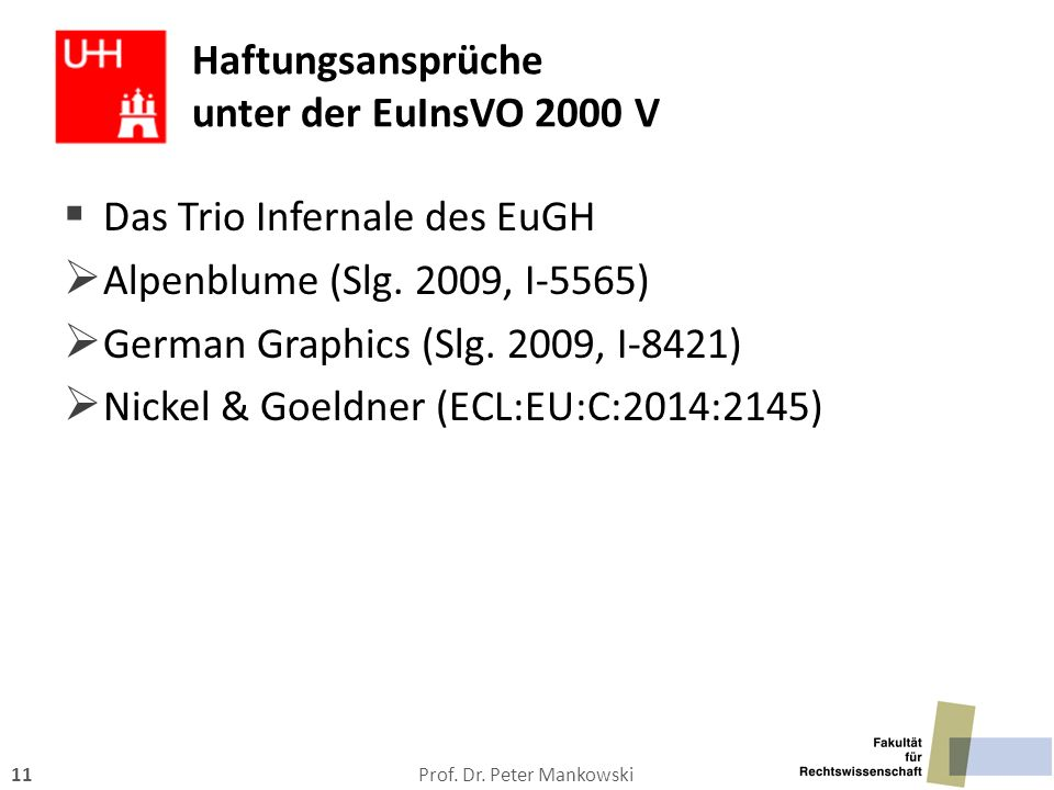 Haftungsansprüche unter der EuInsVO 2000 V