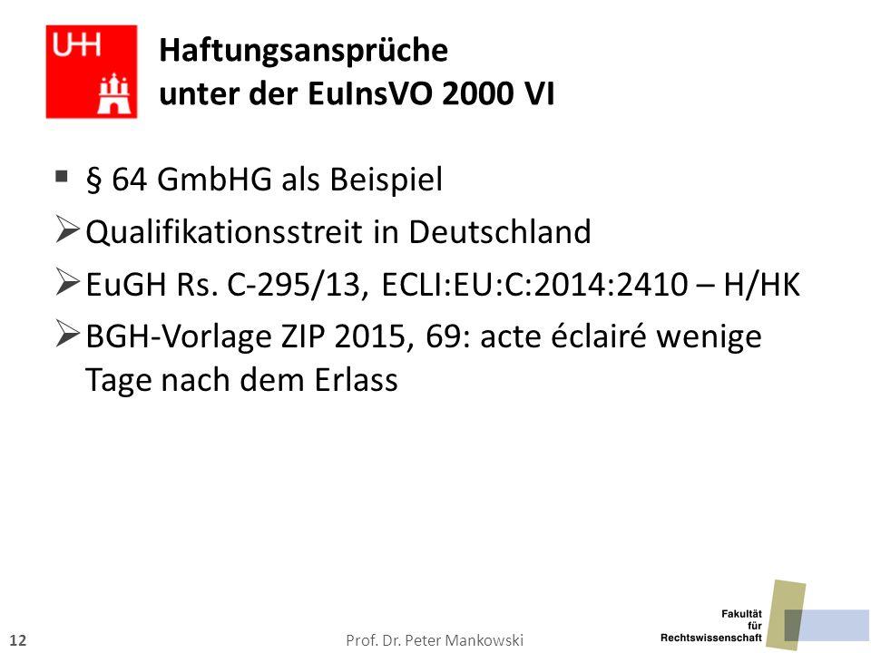 Haftungsansprüche unter der EuInsVO 2000 VI