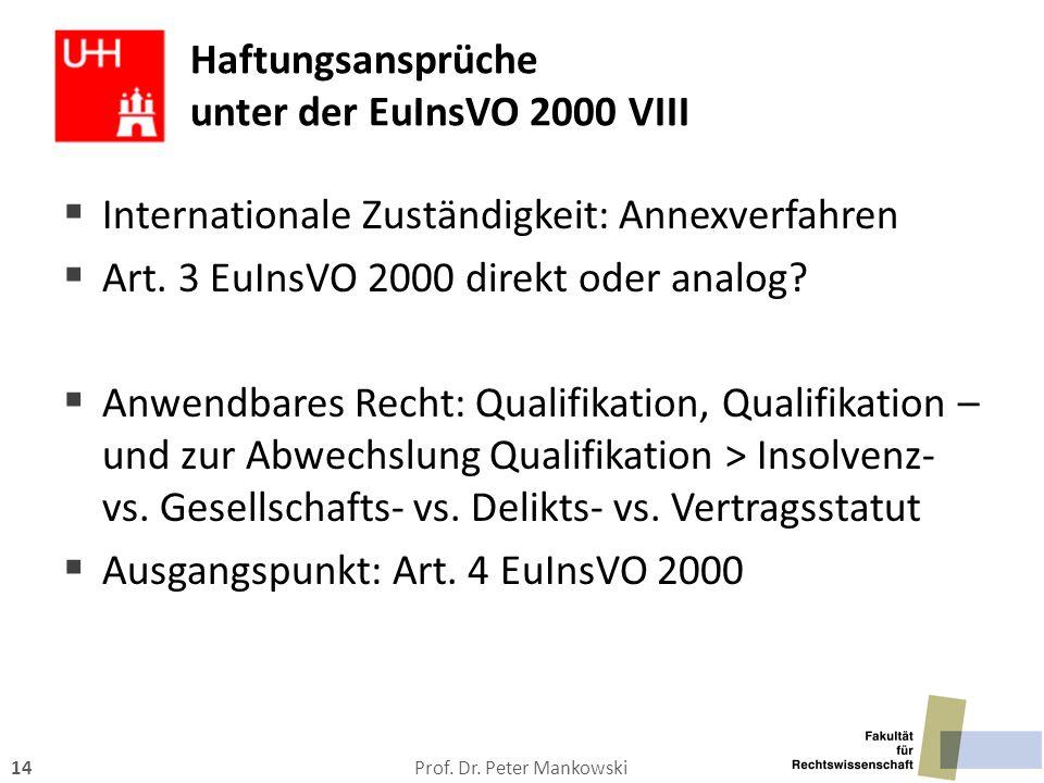 Haftungsansprüche unter der EuInsVO 2000 VIII