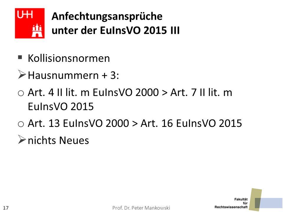 Anfechtungsansprüche unter der EuInsVO 2015 III