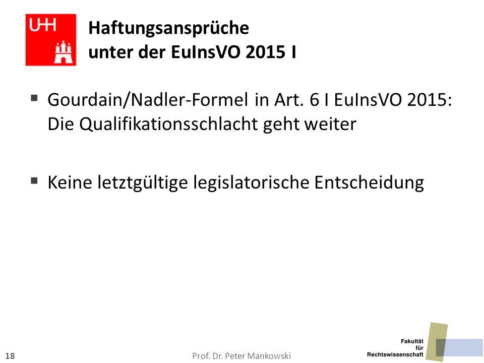 Haftungsansprüche unter der EuInsVO 2015 I