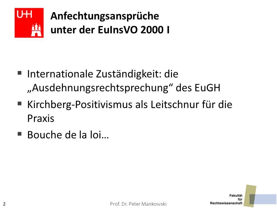 Anfechtungsansprüche unter der EuInsVO 2000 I