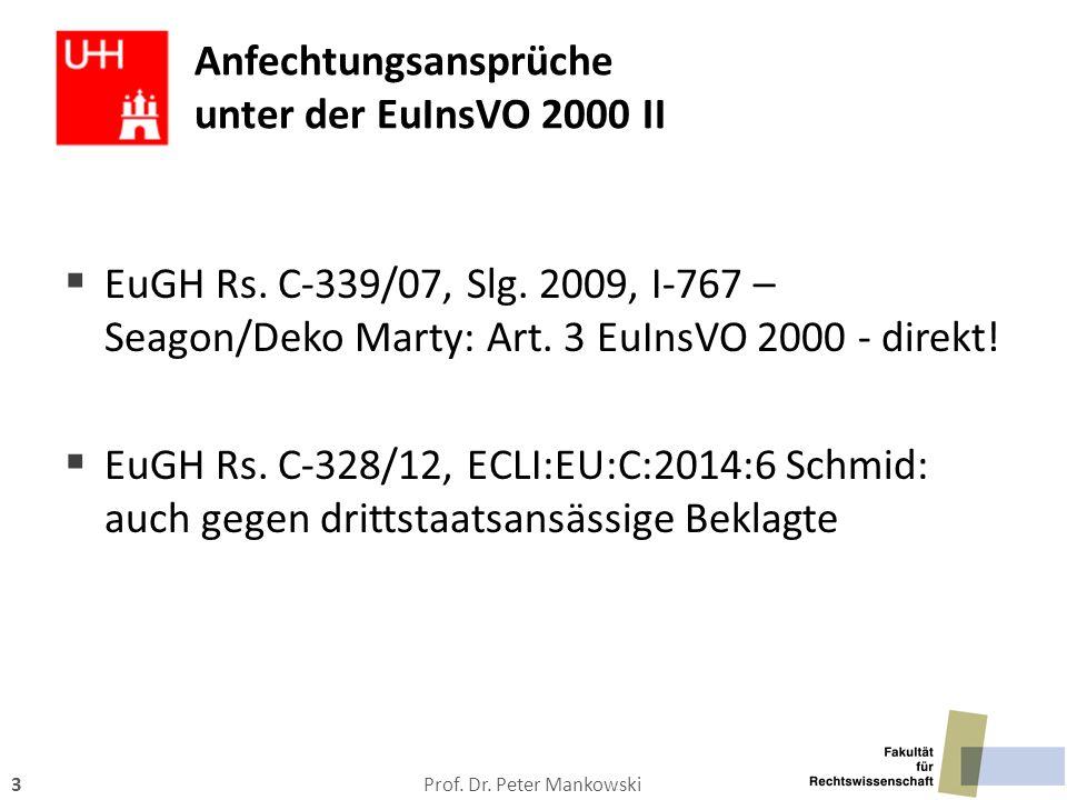 Anfechtungsansprüche unter der EuInsVO 2000 II