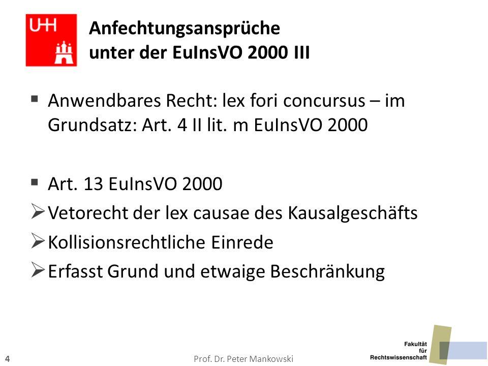 Anfechtungsansprüche unter der EuInsVO 2000 III