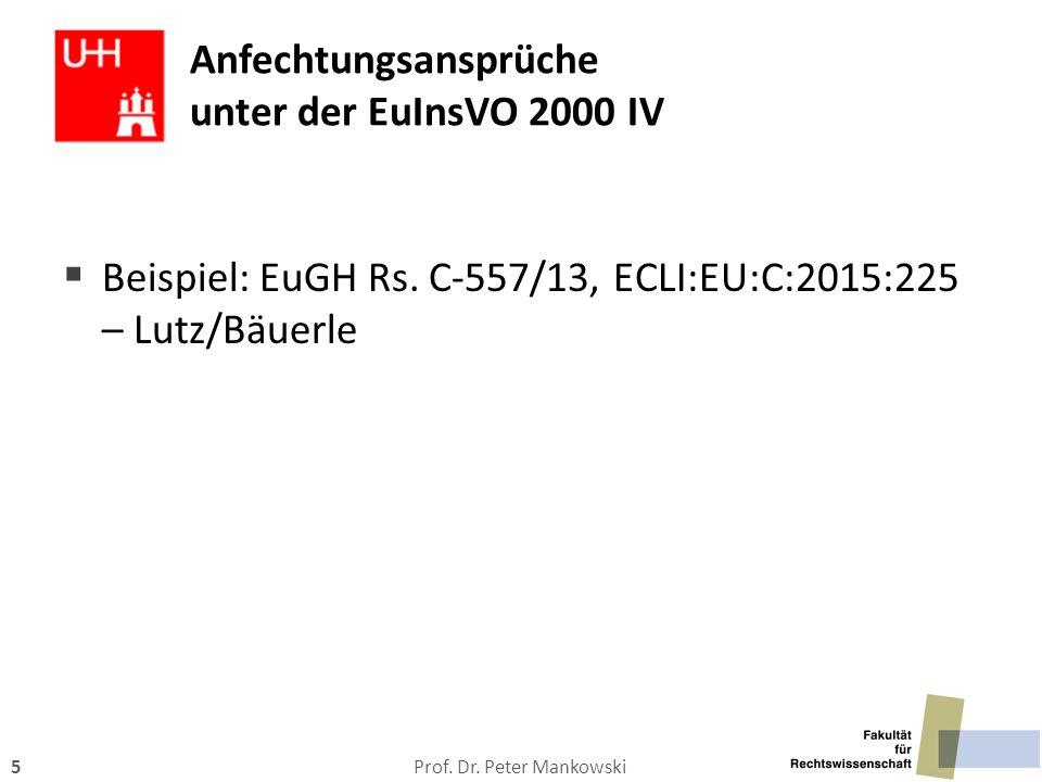 Anfechtungsansprüche unter der EuInsVO 2000 IV