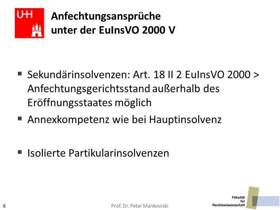 Anfechtungsansprüche unter der EuInsVO 2000 V