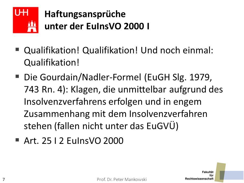 Haftungsansprüche unter der EuInsVO 2000 I