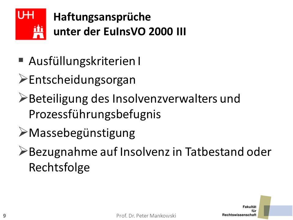 Haftungsansprüche unter der EuInsVO 2000 III