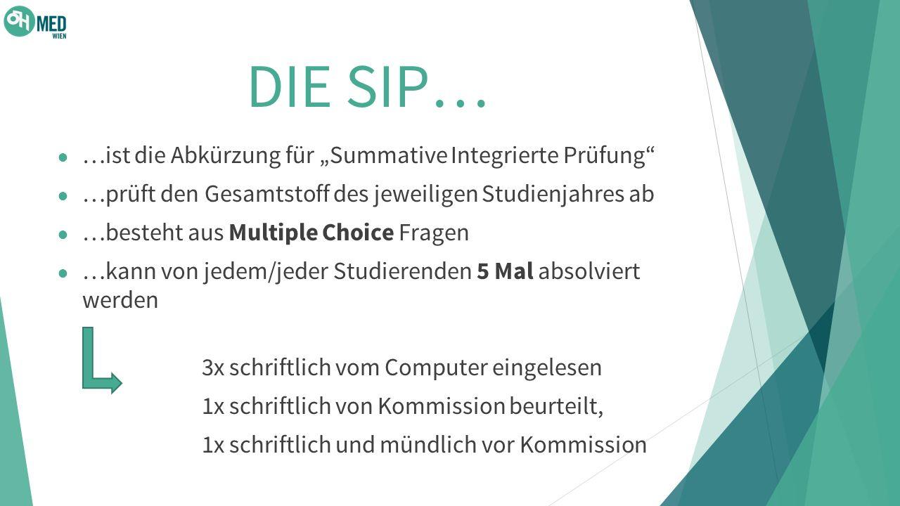 """DIE SIP… …ist die Abkürzung für """"Summative Integrierte Prüfung"""
