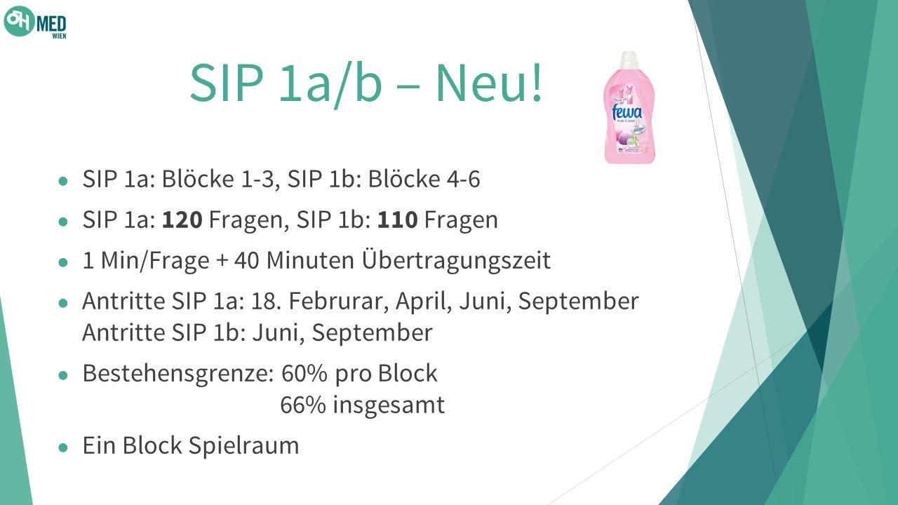 SIP 1a/b – Neu! SIP 1a: Blöcke 1-3, SIP 1b: Blöcke 4-6