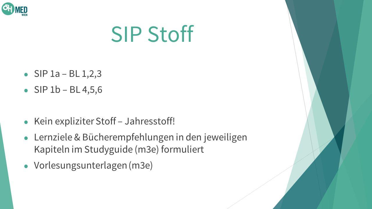 SIP Stoff SIP 1a – BL 1,2,3 SIP 1b – BL 4,5,6