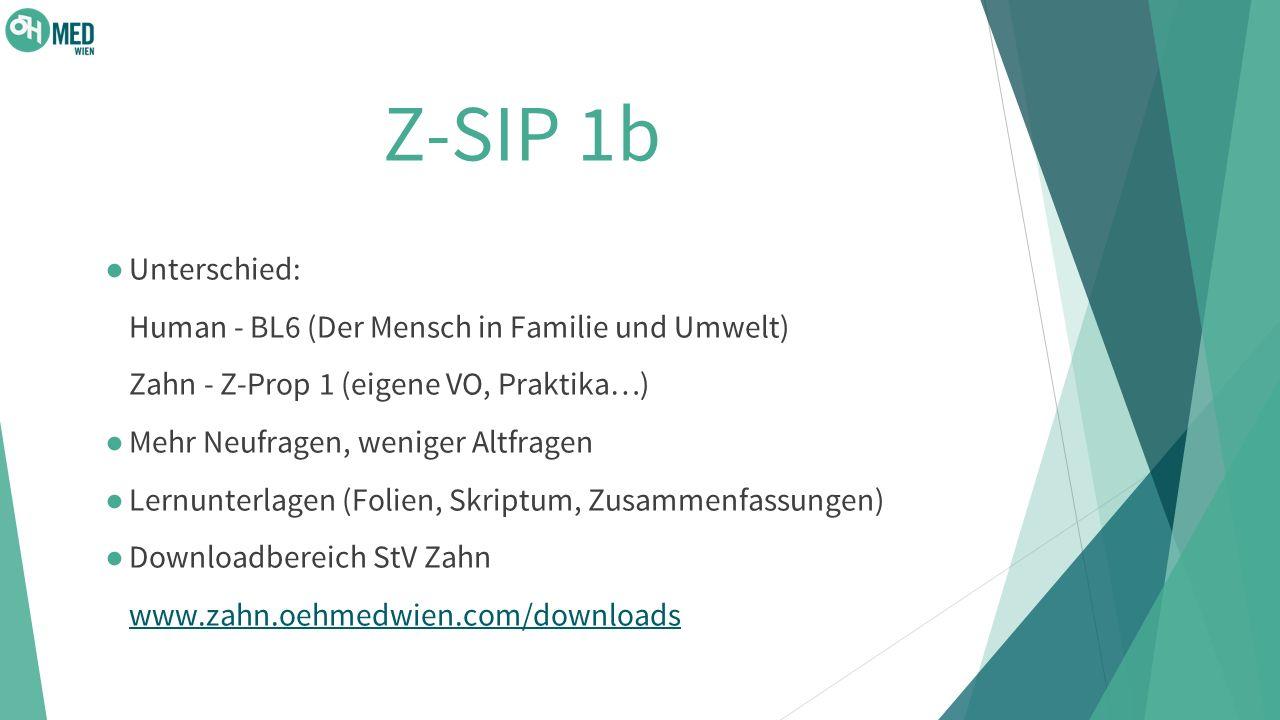 Z-SIP 1b Unterschied: Human - BL6 (Der Mensch in Familie und Umwelt) Zahn - Z-Prop 1 (eigene VO, Praktika…)