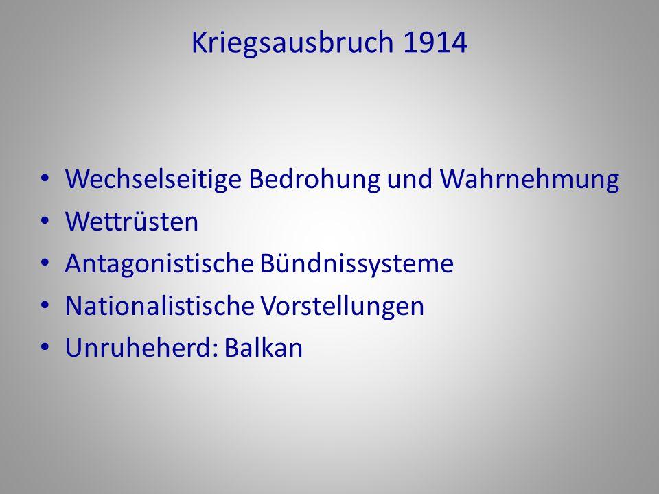 Kriegsausbruch 1914 Wechselseitige Bedrohung und Wahrnehmung