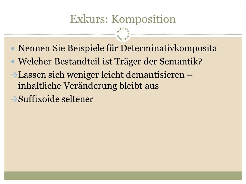 Exkurs: Komposition Nennen Sie Beispiele für Determinativkomposita