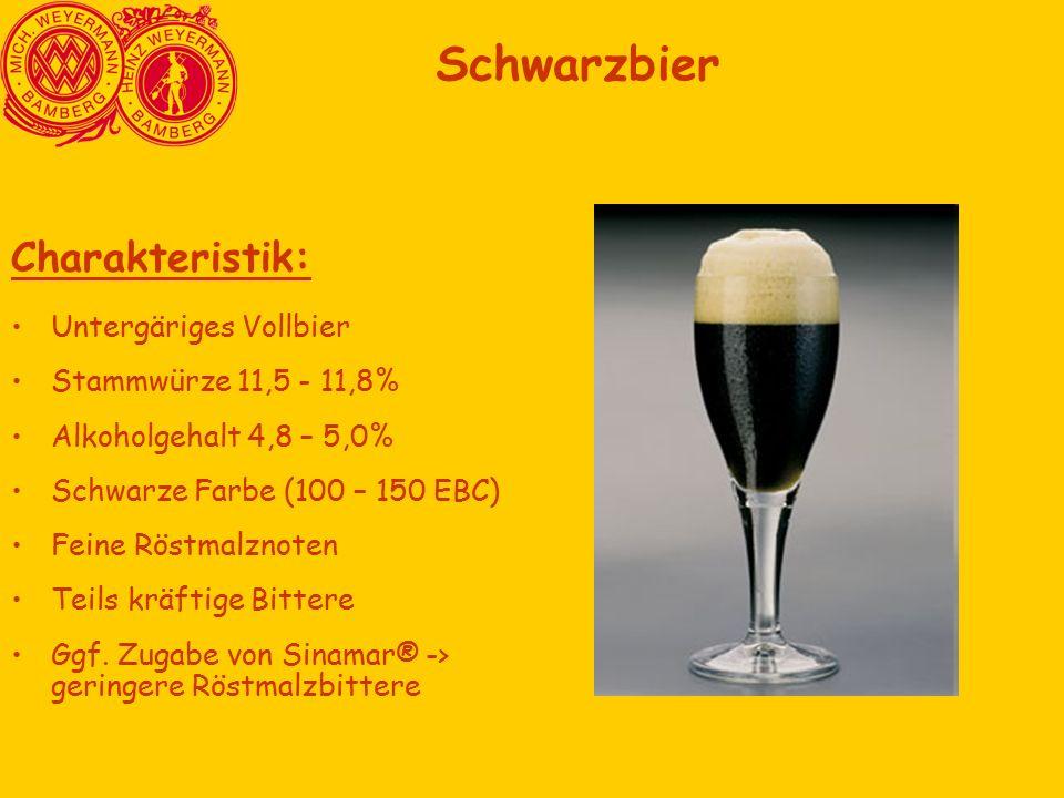 Schwarzbier Charakteristik: Untergäriges Vollbier