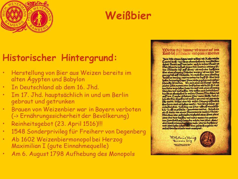 Weißbier Historischer Hintergrund: