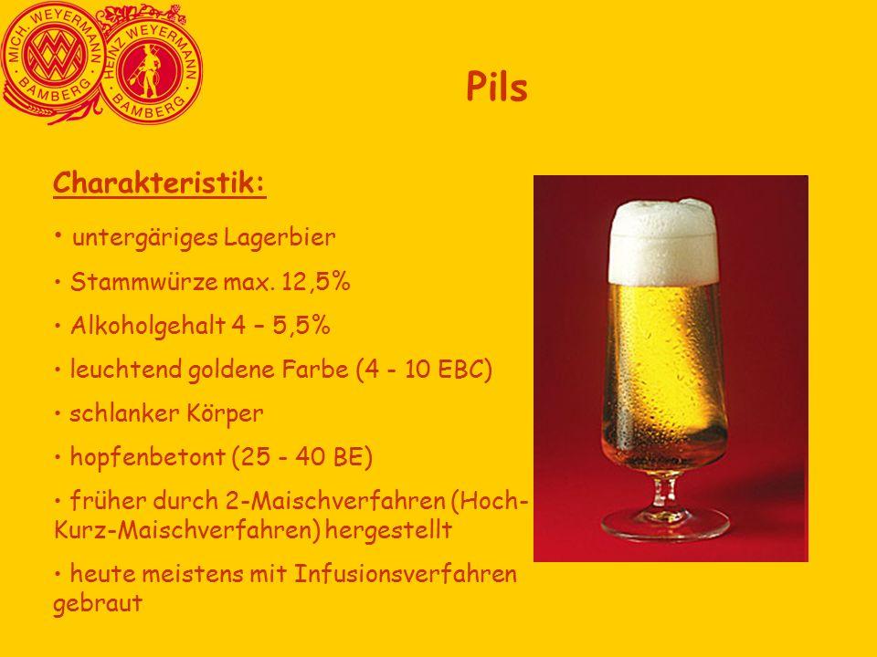 Pils Charakteristik: untergäriges Lagerbier Stammwürze max. 12,5%