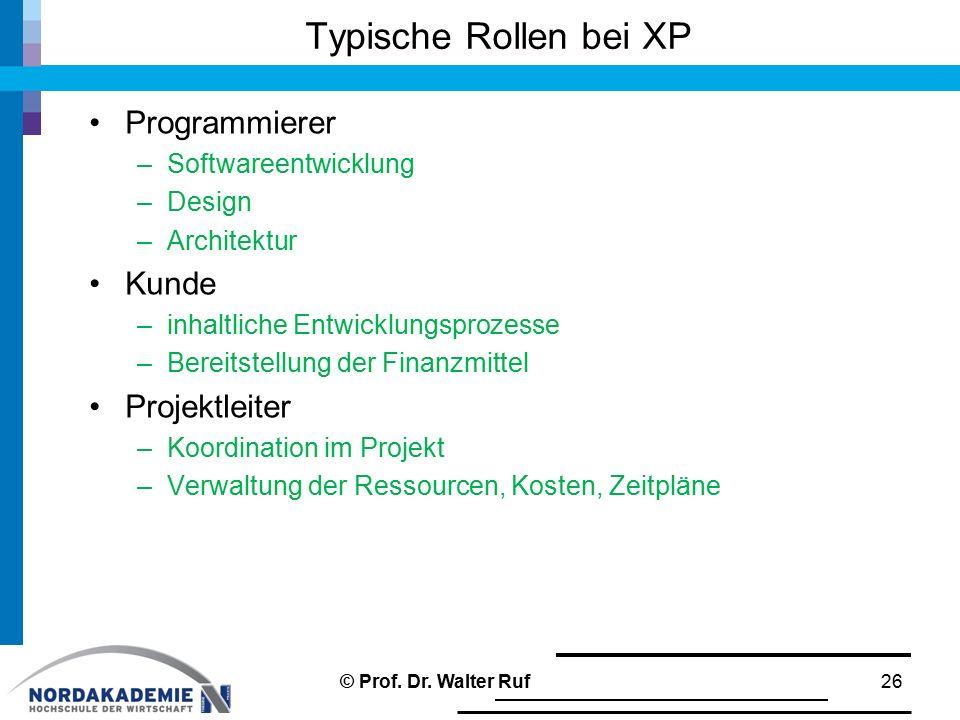Typische Rollen bei XP Programmierer Kunde Projektleiter