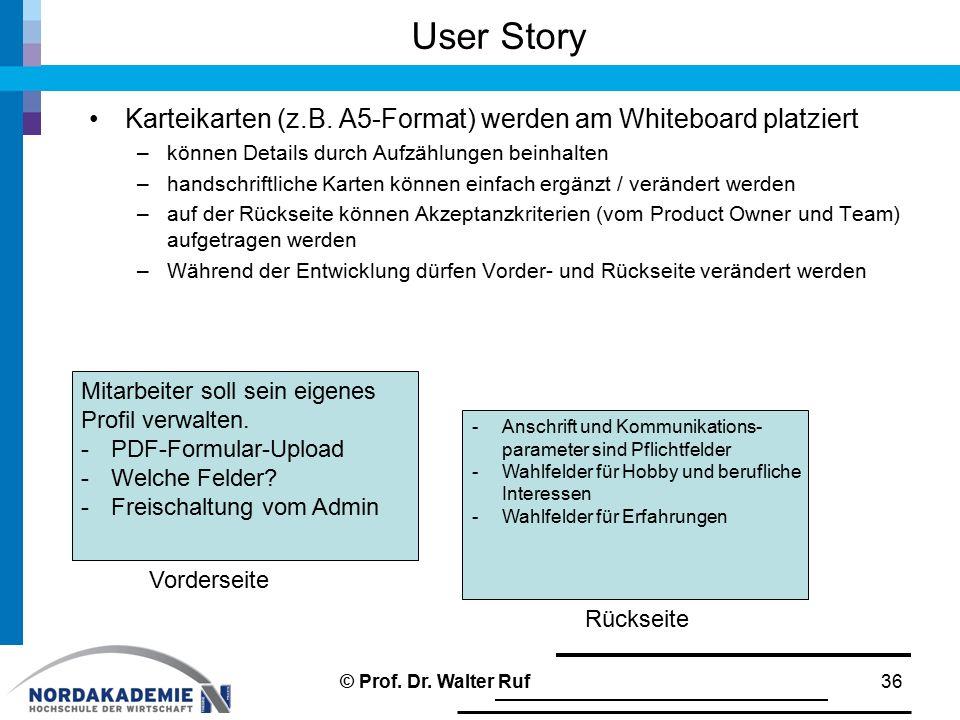 User Story Karteikarten (z.B. A5-Format) werden am Whiteboard platziert. können Details durch Aufzählungen beinhalten.