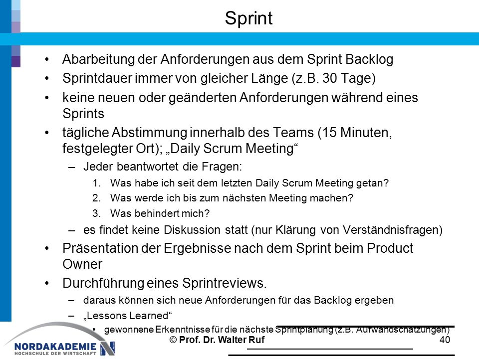Sprint Abarbeitung der Anforderungen aus dem Sprint Backlog