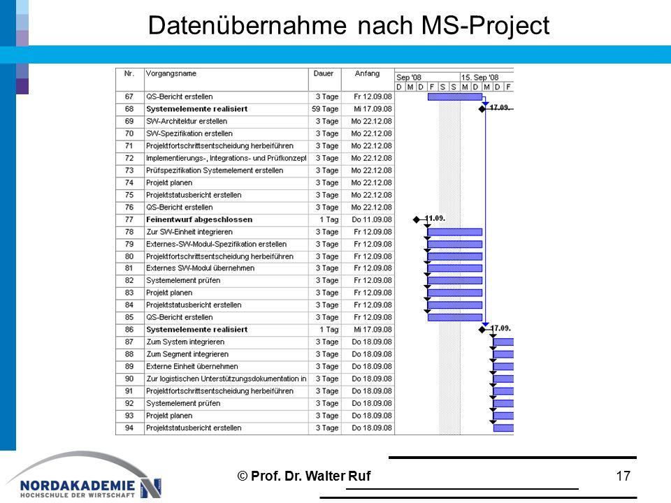 Datenübernahme nach MS-Project
