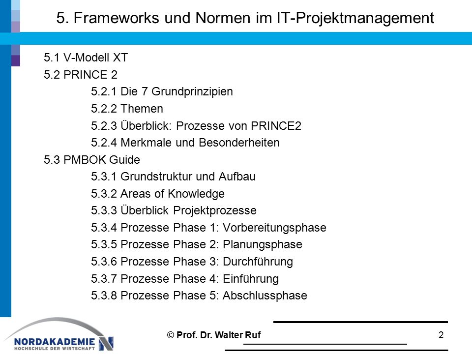 5. Frameworks und Normen im IT-Projektmanagement