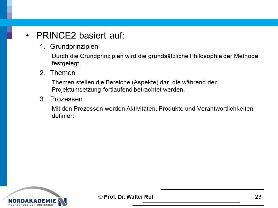 PRINCE2 basiert auf: Grundprinzipien Themen Prozessen