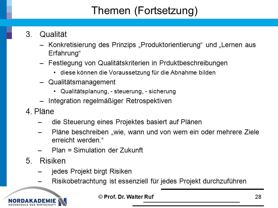 Themen (Fortsetzung) Qualität 4. Pläne Risiken